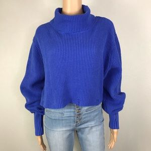distressed cotton knit turtleneck sweater